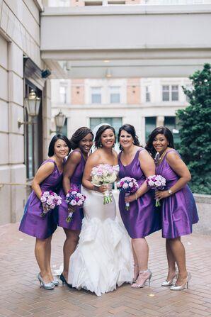 Bridesmaids in Purple Satin Dresses