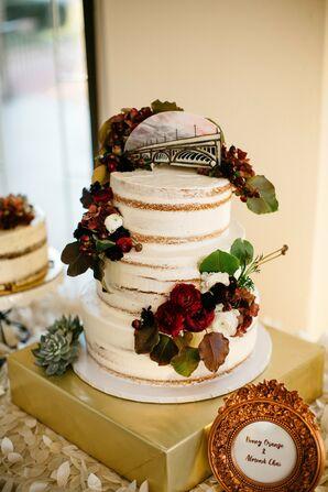 Cake with Custom Illustrated Belle Isle Bridge Topper