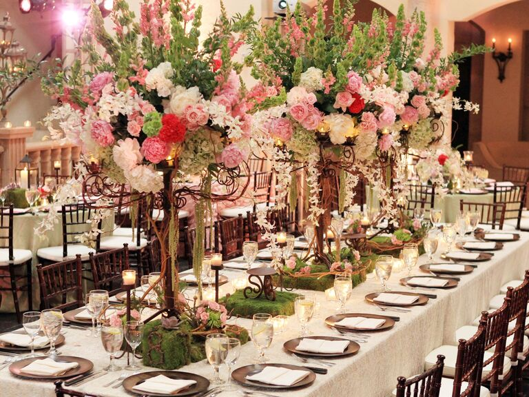 Luxe stalk, carnation and rose tall reception centerpieces