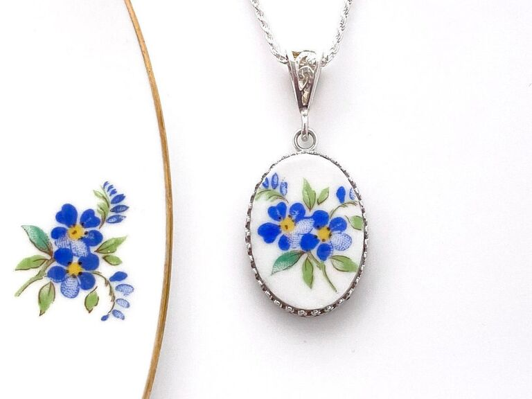 Pendant made out of upcycled china with blue floral pattern
