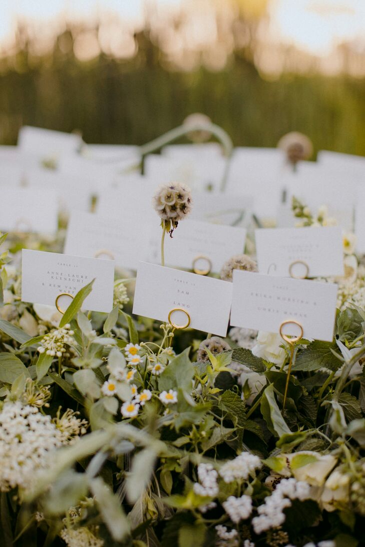 Escort Cards with Greenery and Wildflowers
