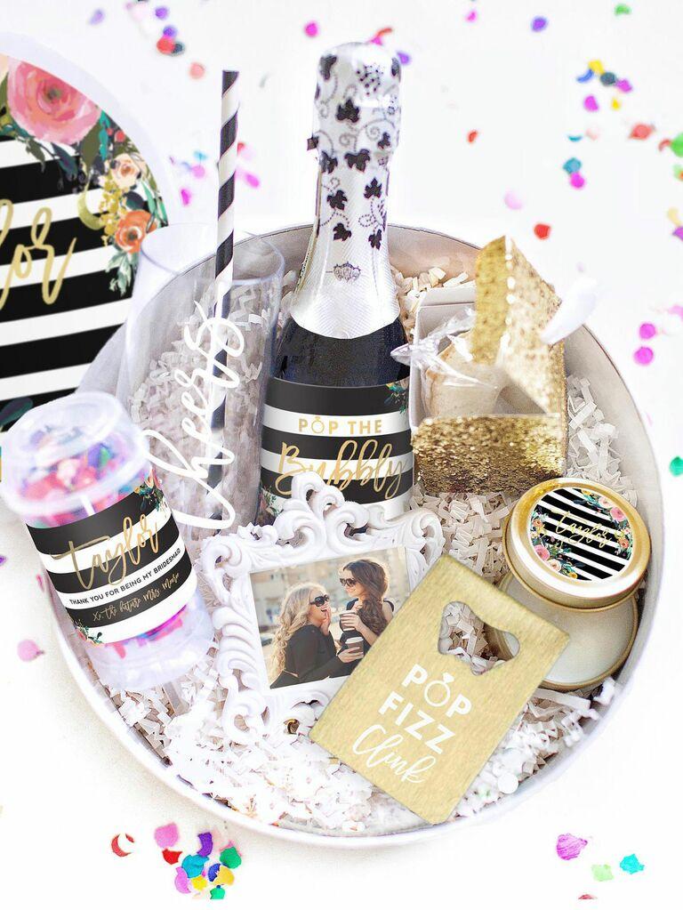 bridesmaid proposal box with confetti