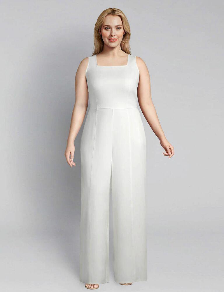 square neck bridal jumpsuit