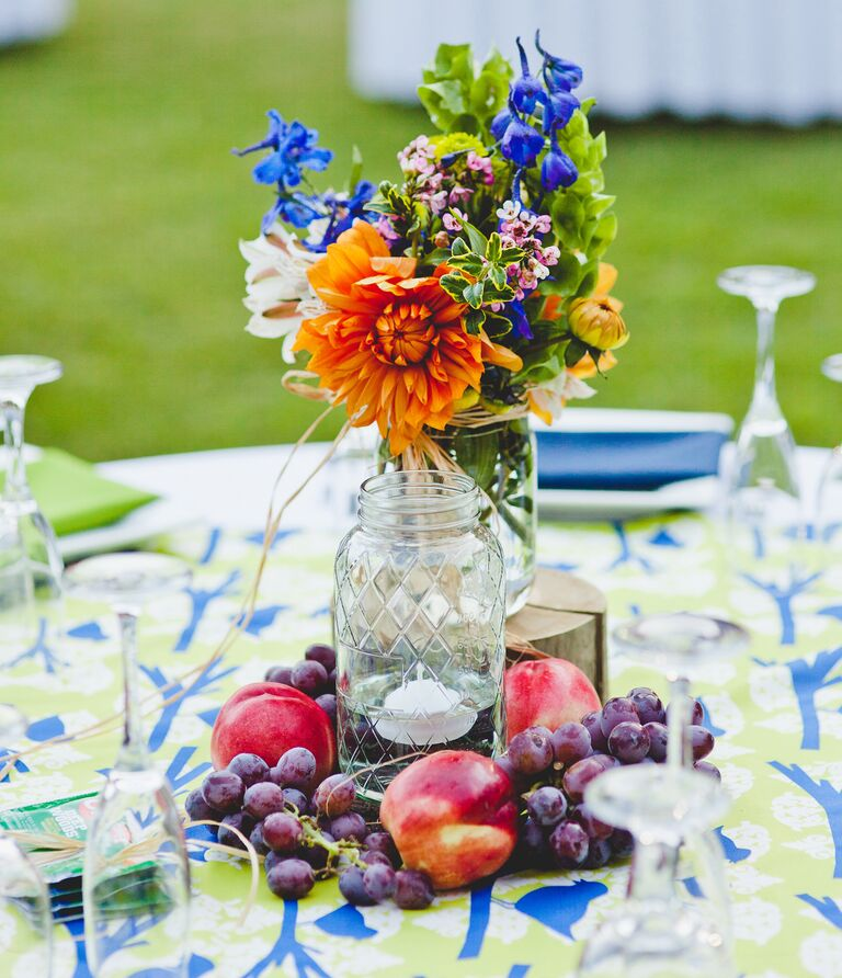 DIY centerpiece with grapes and nectarines