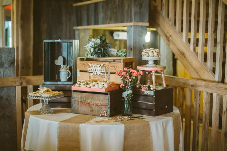 The dessert table had homemade cookies and kitty cake pops placed in vintage crates.