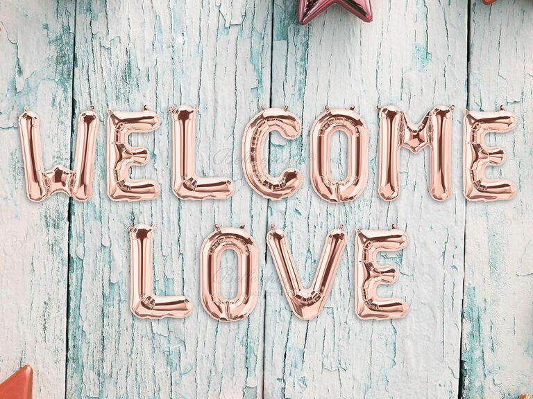Wedding welcome sign balloons