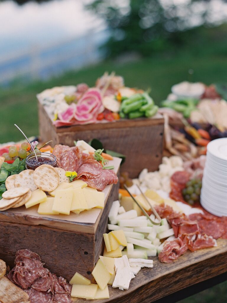 Meat and cheese charcuterie spread