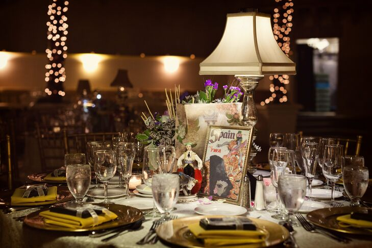 Each table was decorated with elements that embodied each destination the couple had visited together.