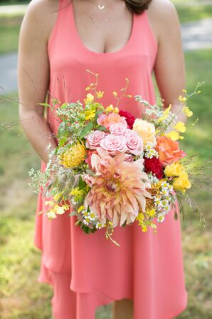 Colorful Dahlia, Rose and Wildflower Bouquet