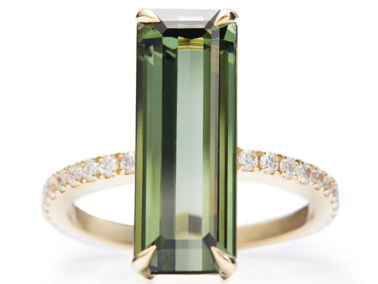 Green tourmaline and diamond deco engagement ring