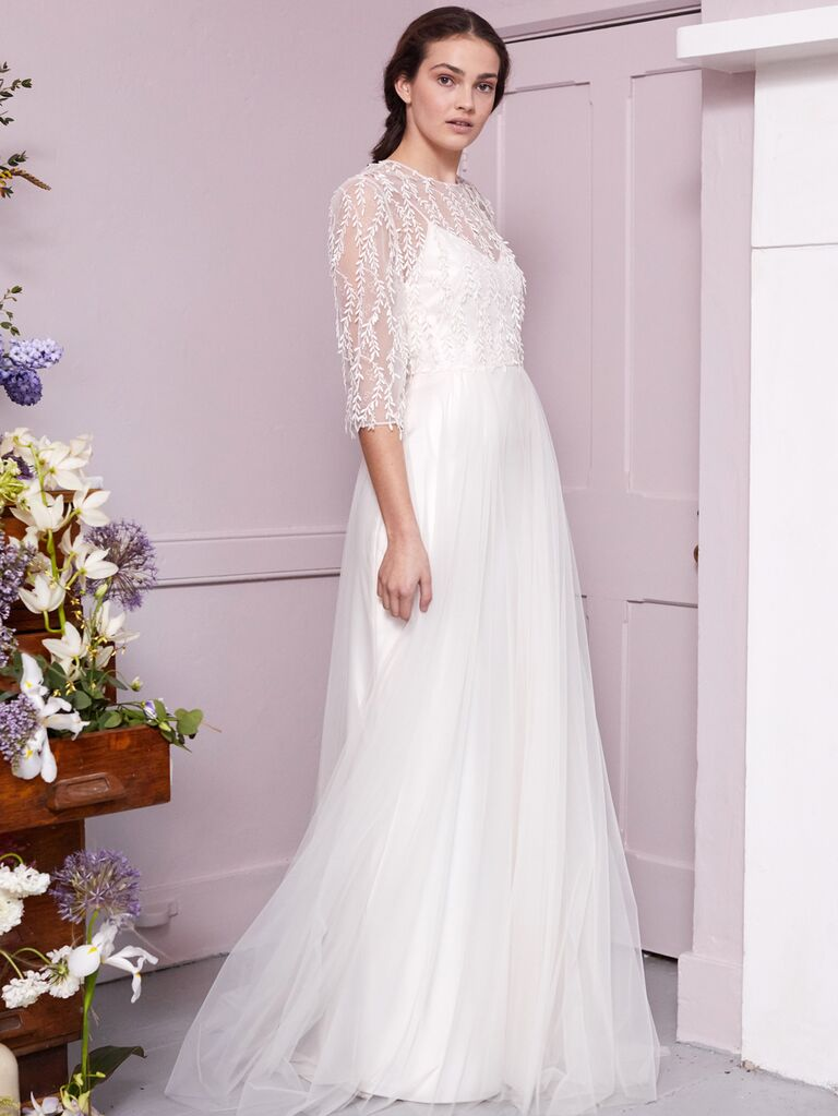 Halfpenny London 2020 Bridal Collection A-line wedding dress with vine embroidery and illusion sleeves