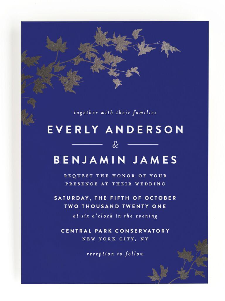 Blue and silver fall wedding invitation