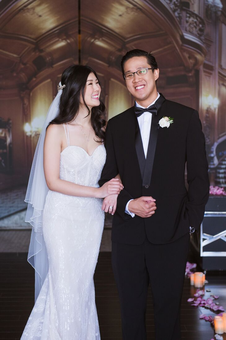 Ethel wore a chic, form-fitting lace gown by Berta Bridal, while Jonathan sported a Chinese style suit by designer Blanc de Chine with a black polka-dot bow tie.