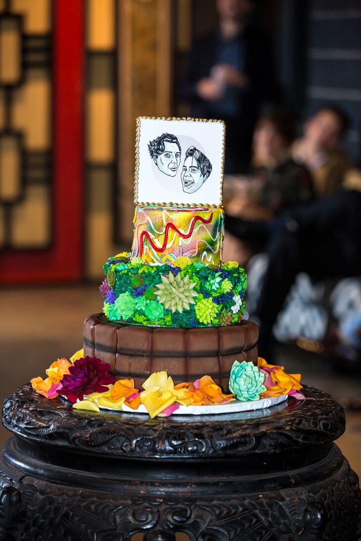 Bright, Eclectic Succulent-Themed Cake with Personalized Topper