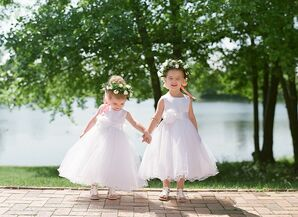 Classic Flower Girls with White Dresses and Flower Crowns