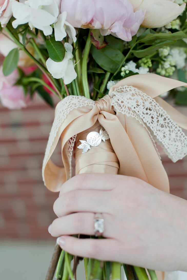 Tan Ribbon and Lace Bridal Bouquet Wrap