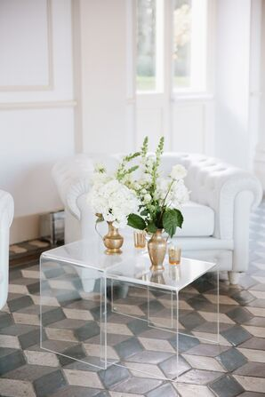 White Flower Arrangements with Gold Vases