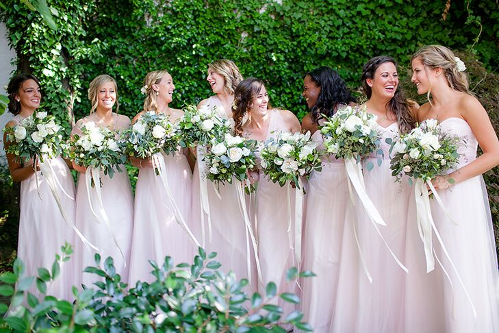 "These floor-length bridesmaid dresses flattered each woman's physique perfectly; especially in the light color Christi chose. ""I love the romantic, easy feeling of the dresses,"" she says. It was important that the dresses possess a subtlety, nothing too dramatic for this elegant affair."