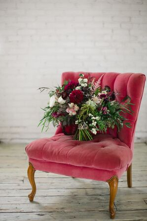 Vintage Red Velvet Chair and Autumn Bouquet