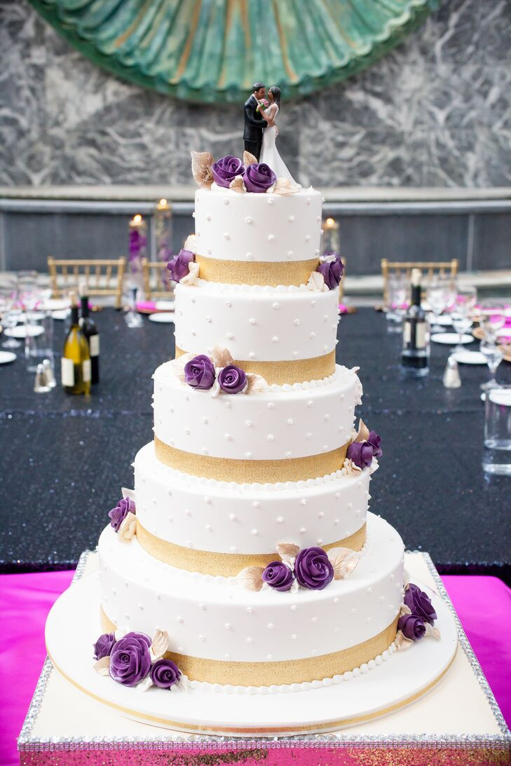 Purple And Gold Wedding.Five Tier White Gold And Purple Wedding Cake
