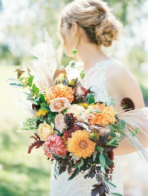Bouquet with Dahlias, Protea and Greenery