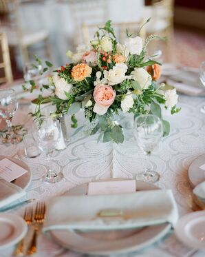 Peach Garden Rose Reception Centerpieces