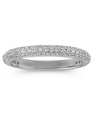 Shane Co. Diamond Wedding Band with Pavé Setting White Gold Wedding Ring