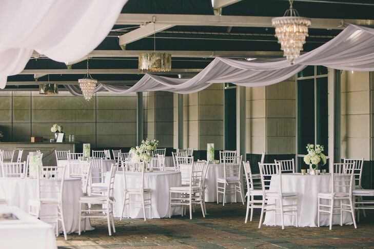 Wanting to take advantage of both the indoor and outdoor space, Kinsey and Collins had seating in all the available space. They had a lounge area on the patio overlooking the harbor and covered seating also on the patio, plus additional seating inside.