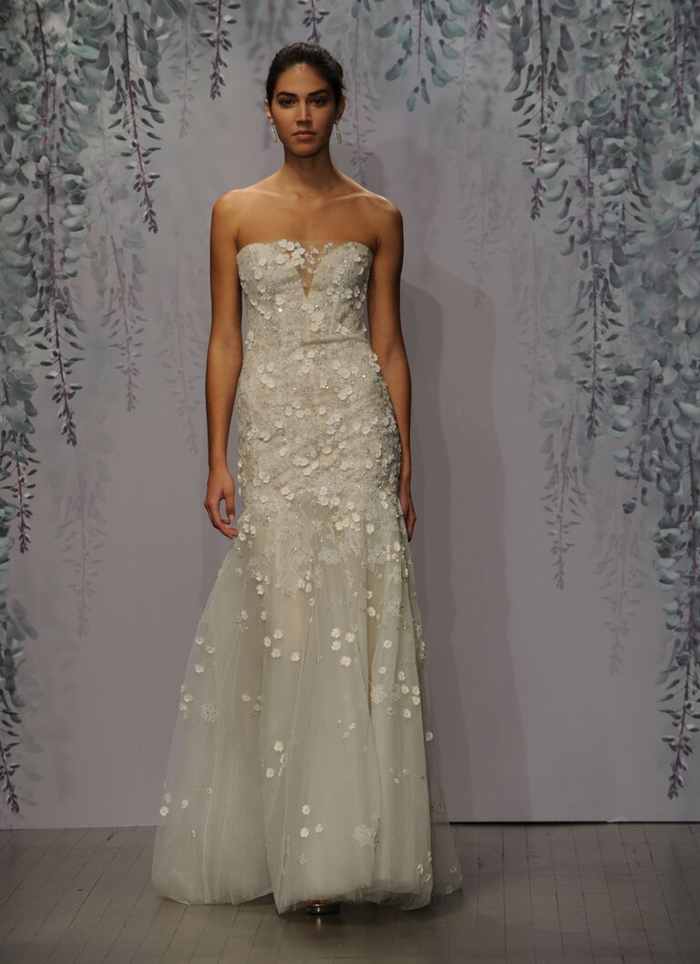 Monique Lhuillier wedding dress Fall 2016 Mist degrade floral Chantilly lace plunging sweetheart trumpet gown