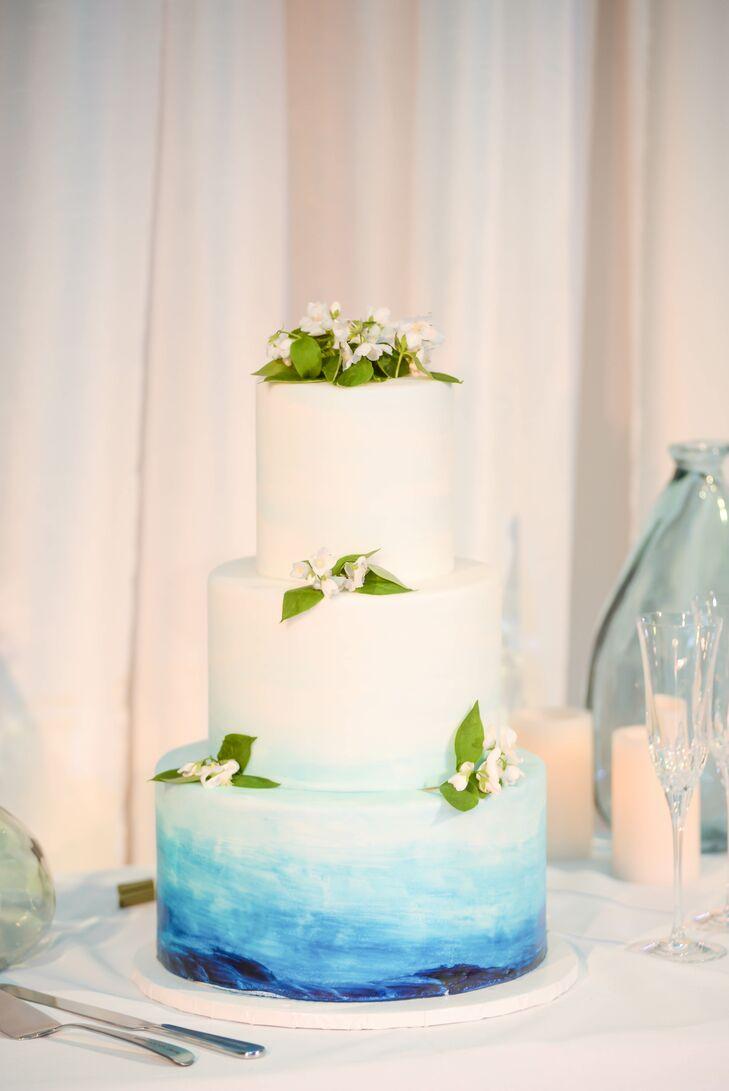 Hand-Painted Coastal Blue Wedding Cake