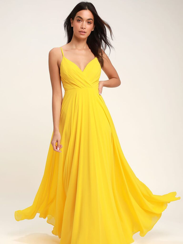 Long yellow bridesmaid dress under $100