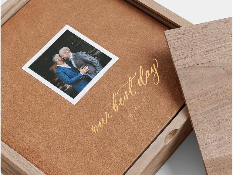 Custom leather-bound photo book in walnut storage box
