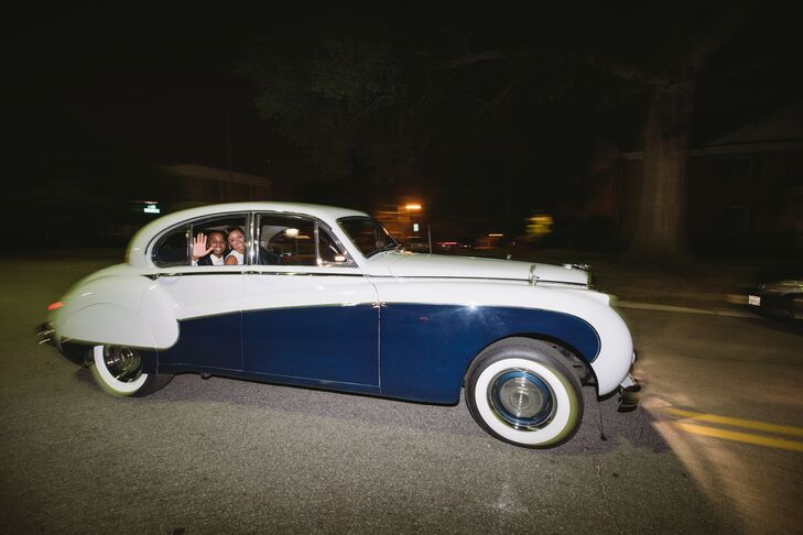 African-American Couple Making Reception Exit in Luxury, Classic Rolls-Royce