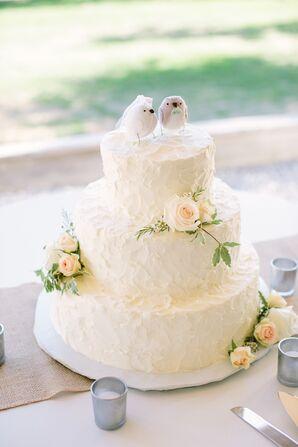 Rose Decorated White Cake