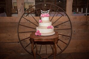 Wedding Cake With Burlap and Pink Flowers