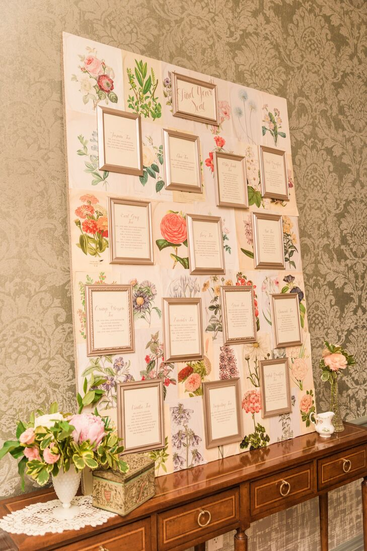 For the seating chart, Mollie outfitted a board with floral paper and gold frames. Each table was named after a different tea flavor in lieu of numbers. The names of each table's guests were in each frame.