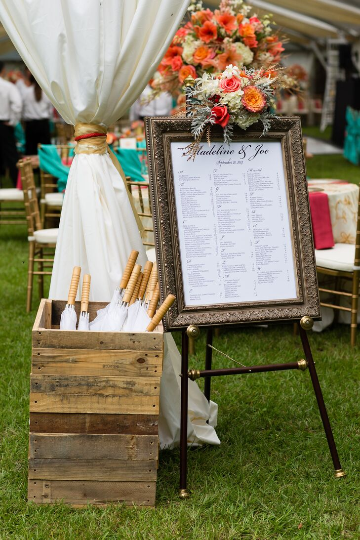 Gold-Framed Wedding Reception Seating Chart Display