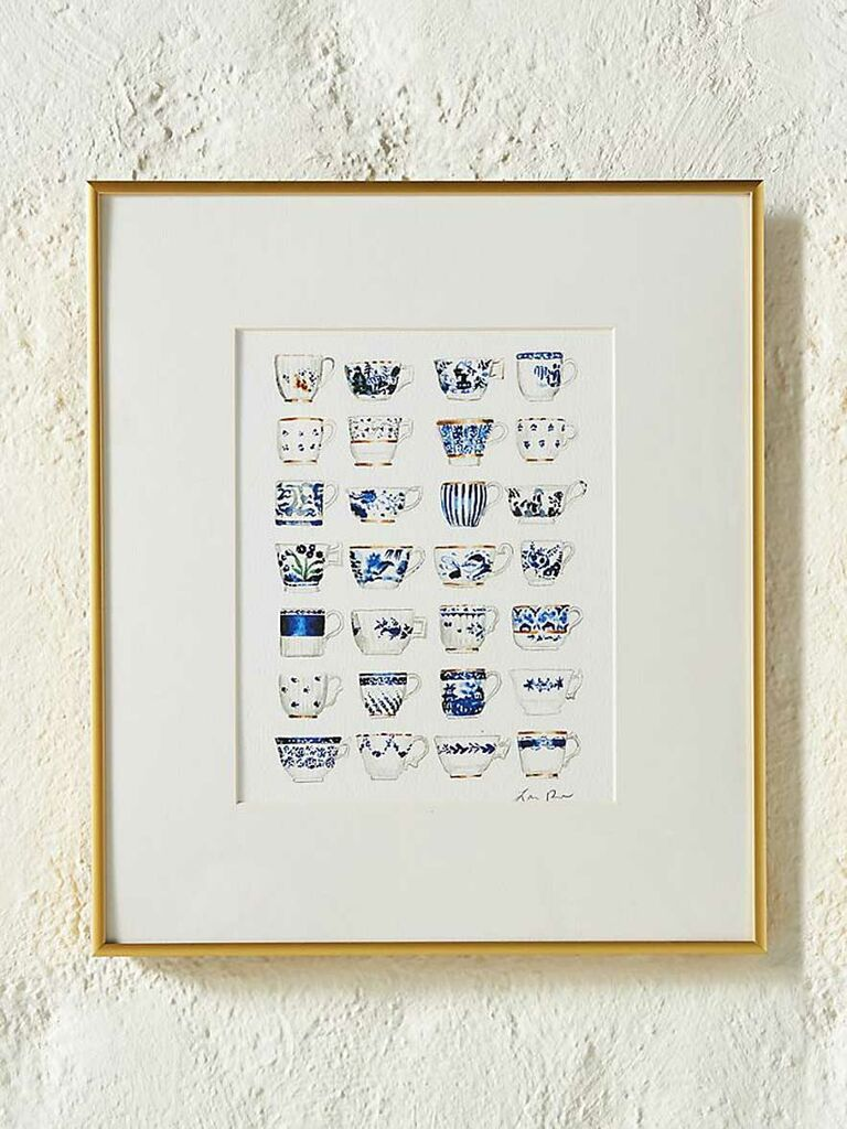 Blue and white china teacup art print