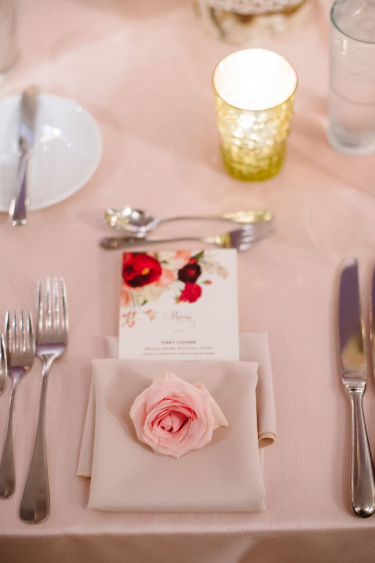 Floral Menus and Rose-Accented Place Settings