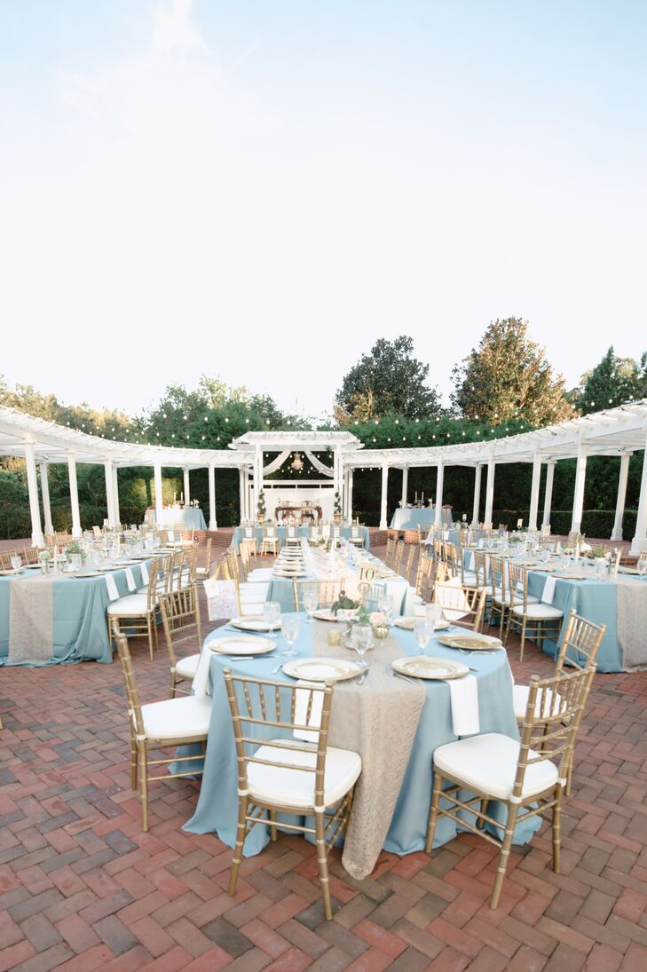 Peachy Pale Blue And Gold Outdoor Reception Decor Download Free Architecture Designs Sospemadebymaigaardcom