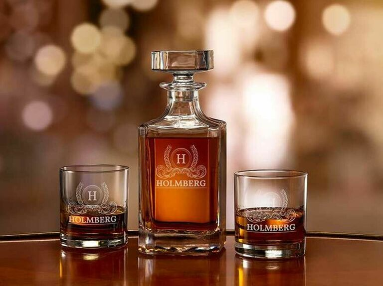 Engraved decanter and rocks glasses with monogram and last name