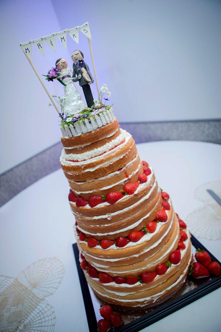 Naked Strawberry Shortcake Wedding Cake