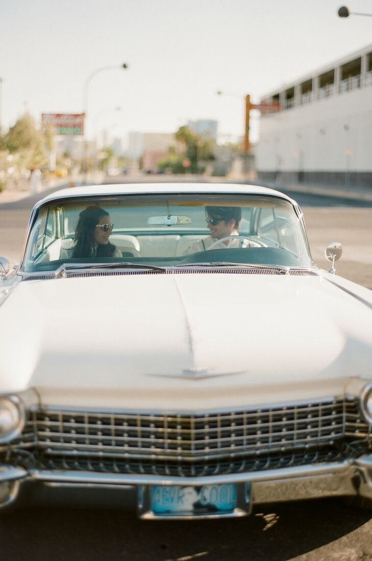 Leila and Tom rented a classic Cadillac for their wedding day from Fantasy Car Rentals, which they drove around Vegas.