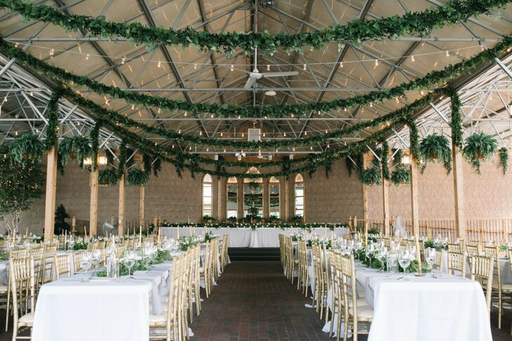 Reception with Greenery Garland at Mystical Rose Gardens in Baldwin, Wisconsin