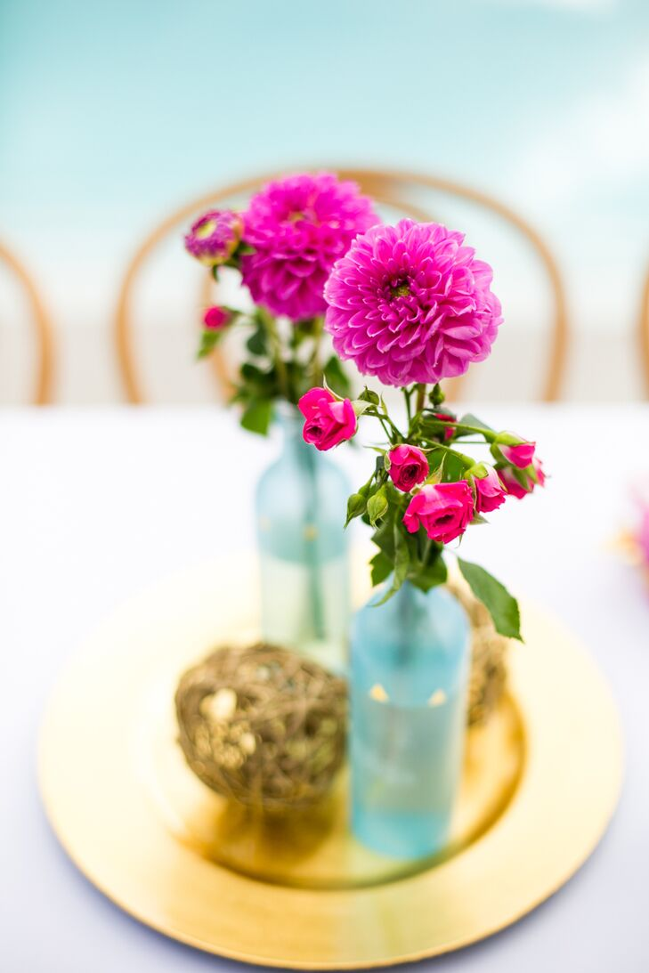 Centerpieces with Pink Ranunculus