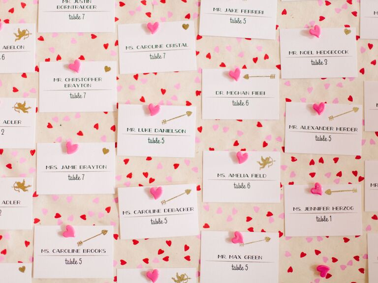 heart-themed Valentine's Day escort cards