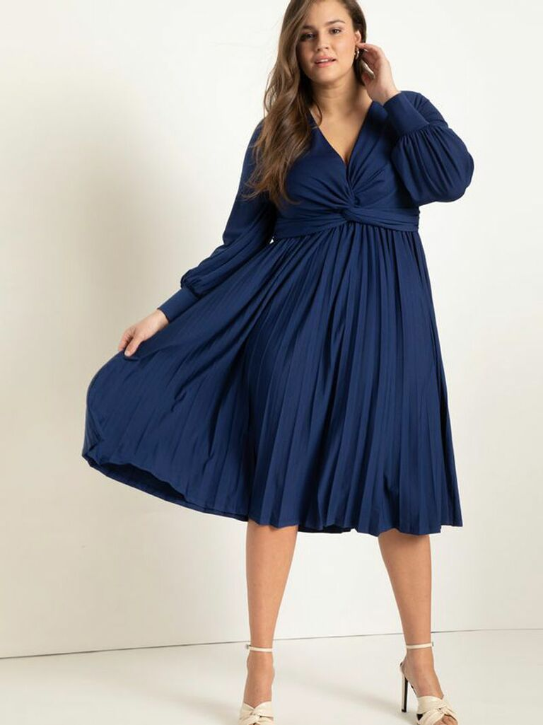 knot front pleated midi dress in navy