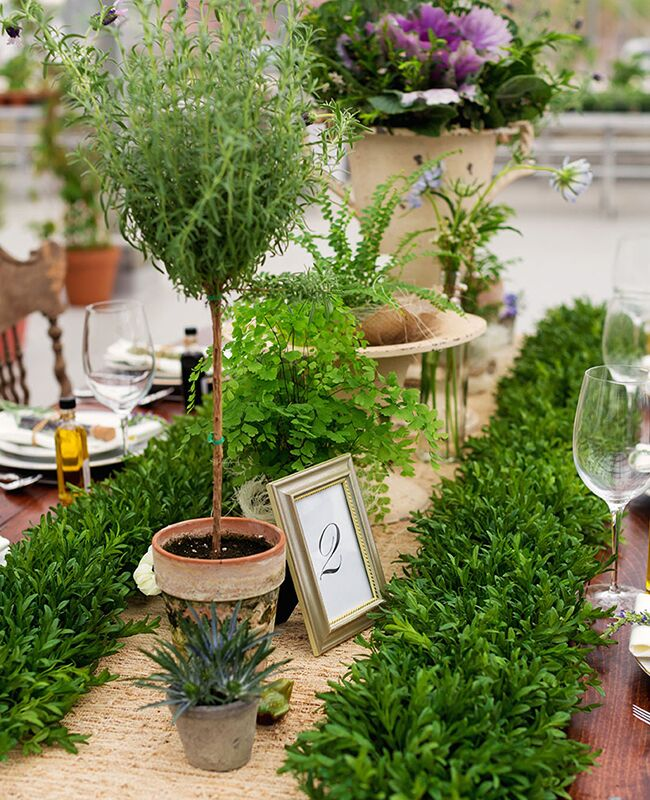 Garland and Topiary Tree Centerpieces | Phrene Exquisite Photography | Blog.theknot.com