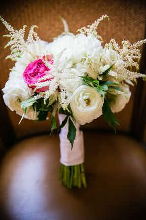 Ivory Textured Bouquet with Pink Accents