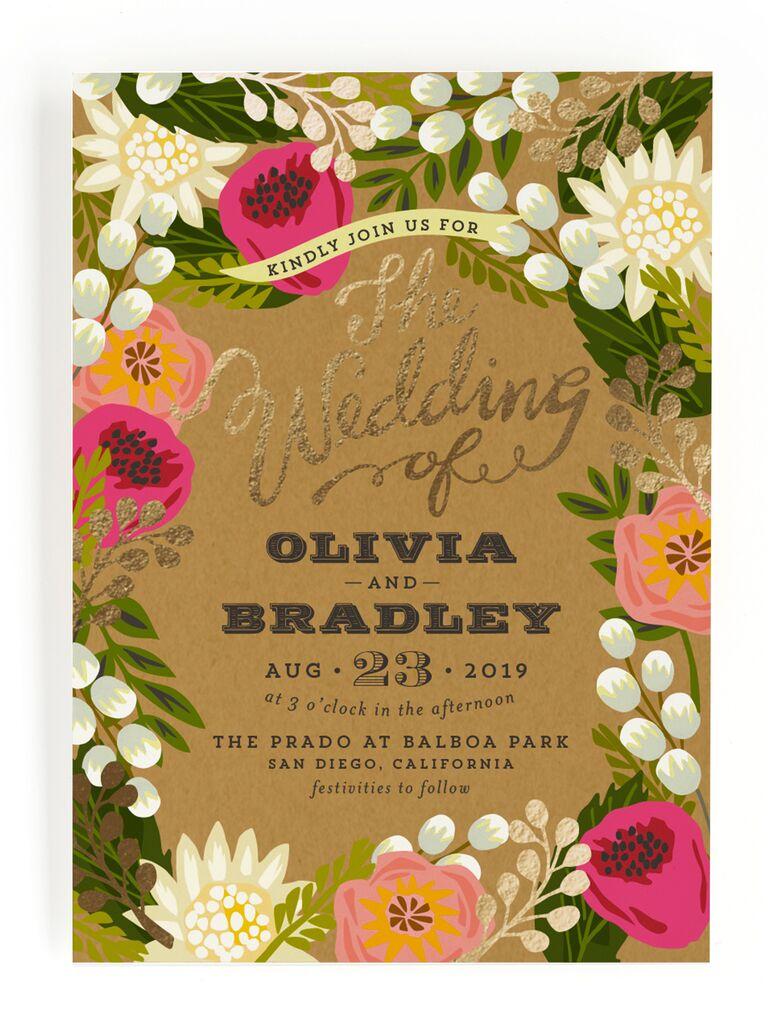 Floral rustic wedding invitation